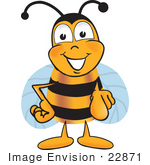 #22871 Clip Art Graphic Of A Honey Bee Cartoon Character Pointing At The Viewer