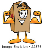 #22876 Clip Art Graphic Of A Cardboard Shipping Box Cartoon Character Flexing His Arm Muscles