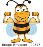 #22878 Clip Art Graphic Of A Honey Bee Cartoon Character Flexing His Arm Muscles