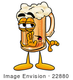 #22880 Clip Art Graphic Of A Frothy Mug Of Beer Or Soda Cartoon Character Whispering And Gossiping