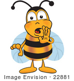 #22881 Clip Art Graphic Of A Honey Bee Cartoon Character Whispering And Gossiping