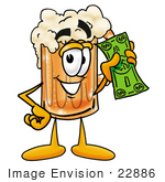 #22886 Clip Art Graphic Of A Frothy Mug Of Beer Or Soda Cartoon Character Holding A Dollar Bill