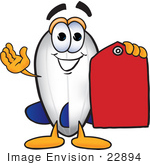 #22894 Clip Art Graphic Of A Dirigible Blimp Airship Cartoon Character Holding A Red Sales Price Tag