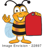 #22897 Clip art Graphic of a Honey Bee Cartoon Character Holding a Red Sales Price Tag by toons4biz