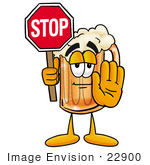 #22900 Clip Art Graphic Of A Frothy Mug Of Beer Or Soda Cartoon Character Holding A Stop Sign