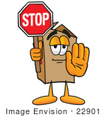 #22901 Clip Art Graphic of a Cardboard Shipping Box Cartoon Character Holding a Stop Sign by toons4biz