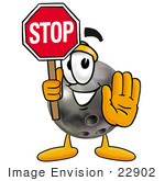 #22902 Clip Art Graphic of a Bowling Ball Cartoon Character Holding a Stop Sign by toons4biz