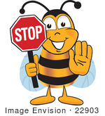 #22903 Clip Art Graphic Of A Honey Bee Cartoon Character Holding A Stop Sign