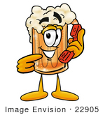 #22905 Clip Art Graphic Of A Frothy Mug Of Beer Or Soda Cartoon Character Holding A Telephone