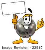 #22915 Clip Art Graphic of a Bowling Ball Cartoon Character Holding a Blank Sign by toons4biz