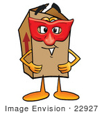 #22927 Clip Art Graphic Of A Cardboard Shipping Box Cartoon Character Wearing A Red Mask Over His Face