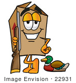 #22931 Clip Art Graphic Of A Cardboard Shipping Box Cartoon Character Duck Hunting Standing With A Rifle And Duck