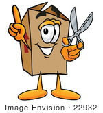 #22932 Clip Art Graphic Of A Cardboard Shipping Box Cartoon Character Holding A Pair Of Scissors