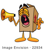 #22934 Clip Art Graphic Of A Cardboard Shipping Box Cartoon Character Screaming Into A Megaphone