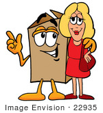 #22935 Clip Art Graphic Of A Cardboard Shipping Box Cartoon Character Talking To A Pretty Blond Woman