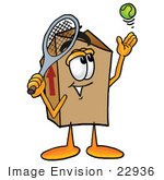 #22936 Clip Art Graphic Of A Cardboard Shipping Box Cartoon Character Preparing To Hit A Tennis Ball