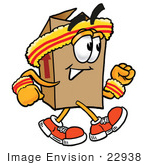 #22938 Clip Art Graphic Of A Cardboard Shipping Box Cartoon Character Speed Walking Or Jogging