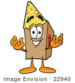 #22940 Clip Art Graphic Of A Cardboard Shipping Box Cartoon Character Wearing A Birthday Party Hat
