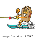 #22942 Clip Art Graphic Of A Cardboard Shipping Box Cartoon Character Waving While Water Skiing