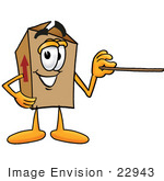 #22943 Clip Art Graphic Of A Cardboard Shipping Box Cartoon Character Holding A Pointer Stick
