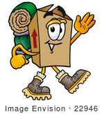 #22946 Clip Art Graphic Of A Cardboard Shipping Box Cartoon Character Hiking And Carrying A Backpack
