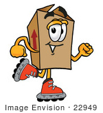 #22949 Clip Art Graphic Of A Cardboard Shipping Box Cartoon Character Roller Blading On Inline Skates
