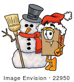 #22950 Clip Art Graphic Of A Cardboard Shipping Box Cartoon Character With A Snowman On Christmas