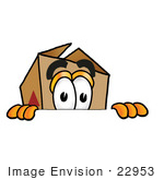 #22953 Clip Art Graphic Of A Cardboard Shipping Box Cartoon Character Peeking Over A Surface
