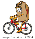 #22954 Clip Art Graphic Of A Cardboard Shipping Box Cartoon Character Riding A Bicycle