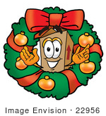 #22956 Clip Art Graphic Of A Cardboard Shipping Box Cartoon Character In The Center Of A Christmas Wreath