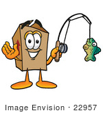 #22957 Clip Art Graphic Of A Cardboard Shipping Box Cartoon Character Holding A Fish On A Fishing Pole