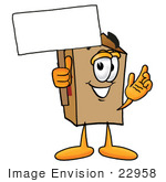 #22958 Clip Art Graphic Of A Cardboard Shipping Box Cartoon Character Holding A Blank Sign