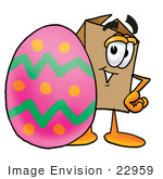 #22959 Clip Art Graphic Of A Cardboard Shipping Box Cartoon Character Standing Beside An Easter Egg