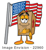 #22960 Clip Art Graphic Of A Cardboard Shipping Box Cartoon Character Pledging Allegiance To An American Flag