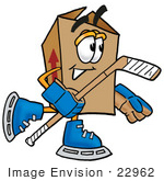 #22962 Clip Art Graphic Of A Cardboard Shipping Box Cartoon Character Playing Ice Hockey