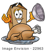 #22963 Clip Art Graphic Of A Cardboard Shipping Box Cartoon Character Serving A Thanksgiving Turkey On A Platter
