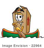 #22964 Clip Art Graphic Of A Cardboard Shipping Box Cartoon Character Rowing A Boat