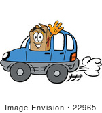 #22965 Clip Art Graphic Of A Cardboard Shipping Box Cartoon Character Driving A Blue Car And Waving