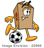 #22966 Clip Art Graphic Of A Cardboard Shipping Box Cartoon Character Kicking A Soccer Ball