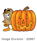 #22967 Clip Art Graphic Of A Cardboard Shipping Box Cartoon Character With A Carved Halloween Pumpkin