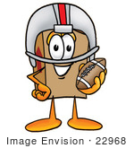 #22968 Clip Art Graphic Of A Cardboard Shipping Box Cartoon Character In A Helmet Holding A Football