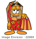 #22969 Clip Art Graphic Of A Cardboard Shipping Box Cartoon Character In Orange And Red Snorkel Gear