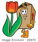#22970 Clip Art Graphic Of A Cardboard Shipping Box Cartoon Character With A Red Tulip Flower In The Spring