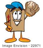 #22971 Clip Art Graphic Of A Cardboard Shipping Box Cartoon Character Catching A Baseball With A Glove