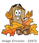 #22972 Clip Art Graphic Of A Cardboard Shipping Box Cartoon Character With Autumn Leaves And Acorns In The Fall