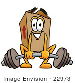 #22973 Clip Art Graphic Of A Cardboard Shipping Box Cartoon Character Lifting A Heavy Barbell