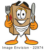 #22974 Clip Art Graphic Of A Cardboard Shipping Box Cartoon Character Holding A Knife And Fork