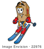 #22976 Clip Art Graphic Of A Cardboard Shipping Box Cartoon Character Skiing Downhill