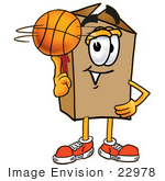 #22978 Clip Art Graphic Of A Cardboard Shipping Box Cartoon Character Spinning A Basketball On His Finger