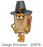 #22979 Clip Art Graphic Of A Cardboard Shipping Box Cartoon Character Wearing A Pilgrim Hat On Thanksgiving